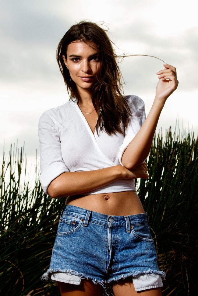 Emily Ratajkowski hot looking in white shirt