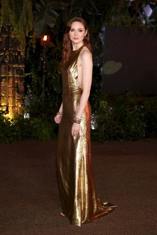 karen gillan hot in golden dress