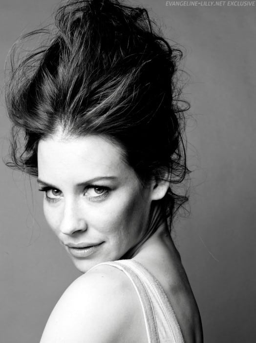 ant man and the wasp actress evangeline lilly hot black white pic