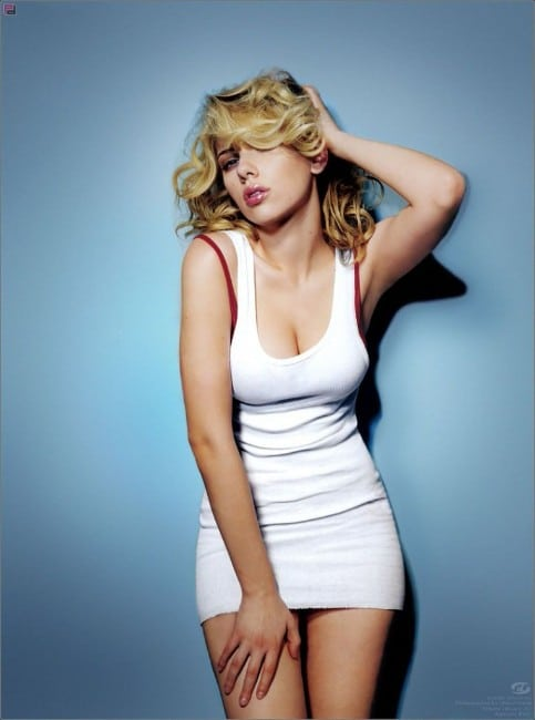 black widow actress scarlett johansson sexy looking in white