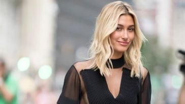 hailey baldwin sexy look in black dress