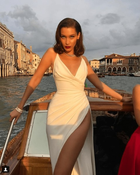 Bella Hadid hot in white dress