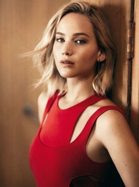 jenifer lawrence hot red dress look