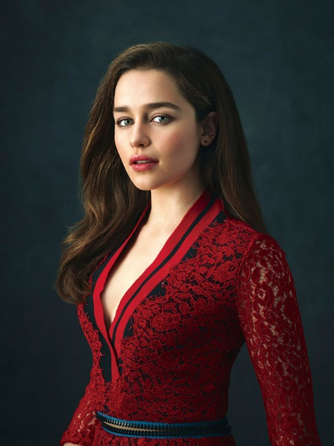 emilia clarke game of thrones hot photo in red