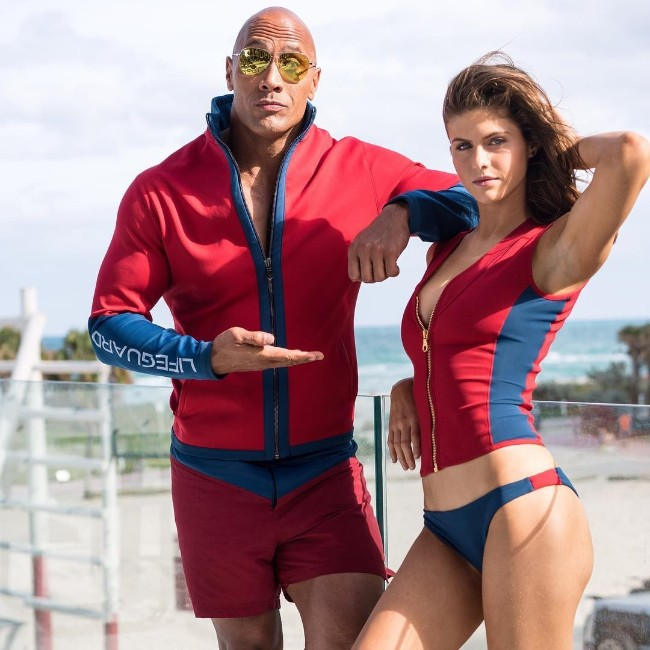 Alexandra Daddario with baywatch co-star