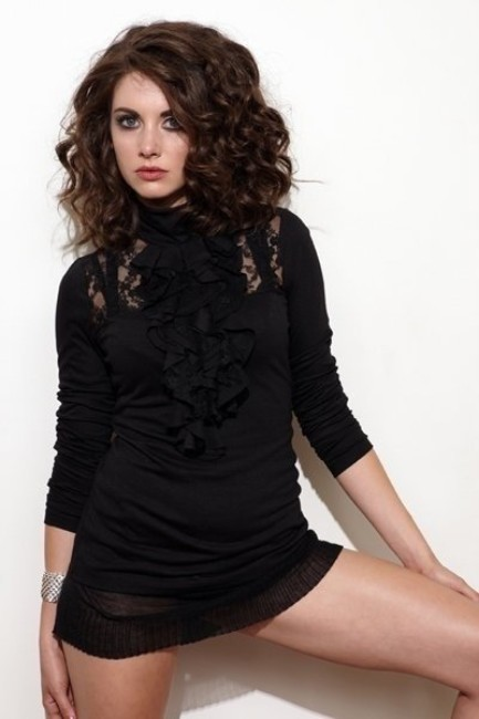 Alison Brie hot looking in black outfit