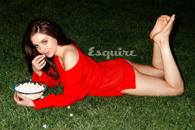 Alison Brie sexy butt in red dress