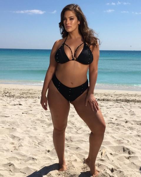Ashley Graham bikini at beach